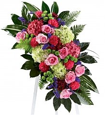 Funeral Flowers: Refreshing Mix Standing Spray